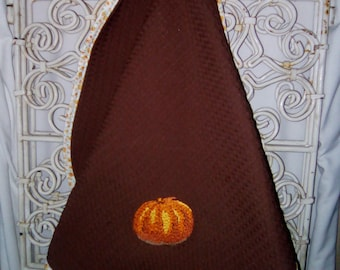 "Tea towel embroidered ""pumpkin"" to hang handmade"