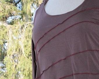 "Tank top ""Elfa"" - viscose jersey - size XL (taupe-bordeaux)"