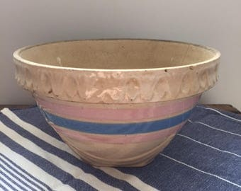 """Pink and White Yellow Ware Bowl - 8"""""""