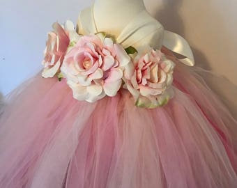 Girls flowergirl tutu dress, Unicorn blush pink, ivory, pink, peach, rose flowers & ribbon. Extra fluffy. Fairy costume. Bridesmaid,Birthday