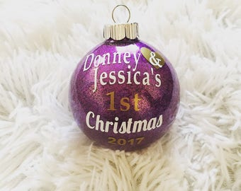 Personalized Couple's First Christmas Glitter Ornaments, Shatterproof, Couple, Holiday Decor, Christmas, Glitter, Ornament, Personalized