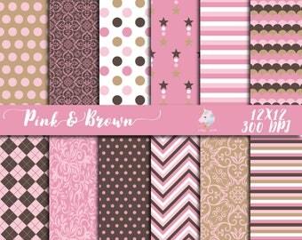 Pink and brown paper, digital paper, pink paper pack, brown damask, floral background, baby shower decor, scrapbooking paper, flower pattern