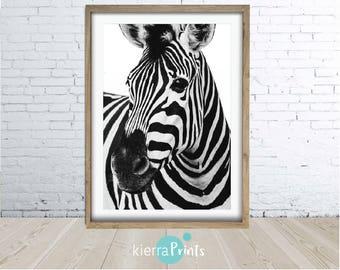 Zebra Print, Pattern, Safari, Urban, Digital Download, Wall Art, Modern, Large Poster, Animal Print, Black & White, Photography