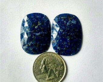 Lapis lazuli Rose cut slice Pair/ Ovel Shape rose cut slice pair/Cabochon Slice/natural Lapis lazuli/Cabochon rose cut/Earring slice pair