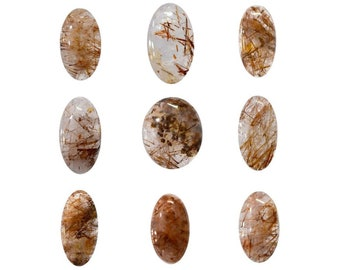 Copper Rutile Cabochons Natural, Non Heated, Non Treated, Mix Sizes & Shapes Gemstones With Beautiful Inclusion At Wholesale Price