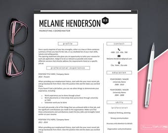 Resume Template, Modern Resume Template Marketing, Professional Resume Template Instant Download, Creative Resume Template Word, CV Design