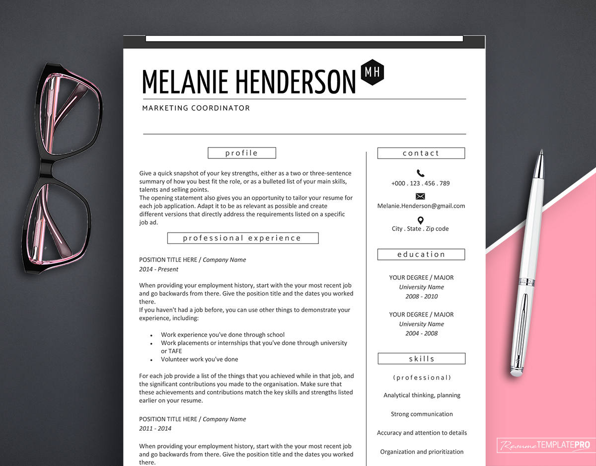 resume template modern resume template marketing