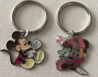 Pair of Mickey and Minnie Key Ring With Charms