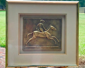 Bronze Sub-Sculpture of Horseback Rider, Mounted and Framed in Gold