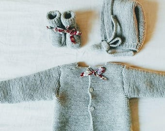 Hand-knitted mid-grey and liberty set
