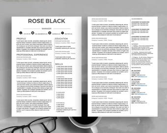 Creative Professional Resume Temlate for Word,Printable Resume 1-3  pages editable,Cover Letter Template, icon pack,Instant download