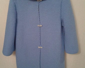 Knitted coat from wool handmade cardigan for woman knit jacket long sleeve blue woman cardigan