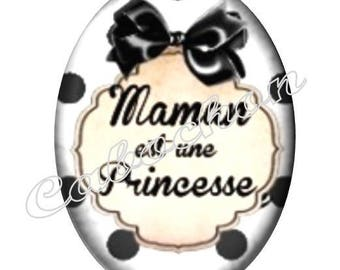 2 cabochons 25mm x 18mm glass, mother, MOM, your black and white