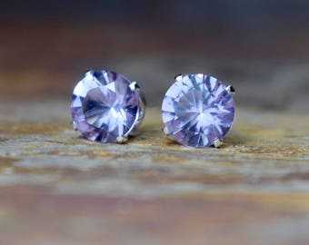 February Birthstone, 8mm Amethyst Stud Earrings, Pink Amethyst Sterling Silver Gemstone Earrings, Natural Gemstone Jewelry, Wife Gift, UK