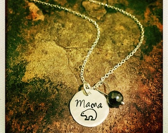 Mama Bear Hand-stamped Dainty Sterling Silver Necklace| Hammered Handcrafted Necklace Silver Hematite| Custom Made Personalized Jewelry