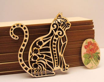 Cat 1920's wood 6 mm wooden Littles embellishment