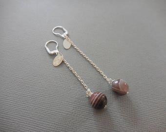 Botswana agate earrings 925 sterling silver