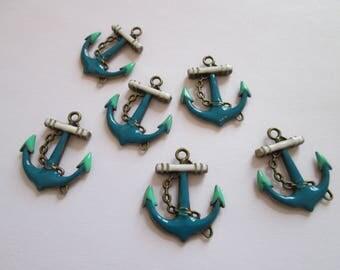 6 breloque ancre marine émail bleu, blanc, vert métal bronze 31 x 27mm