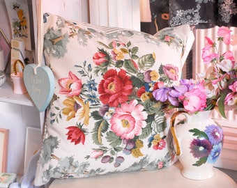"Sanderson Floral Cushion, 16 x 16"" handmade cushion, vintage floral cushion, rose vintage fabric handmade cushion"