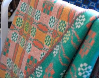 Vintage Welsh Tapestry Blanket, Mint Green Welsh Blanket, Traditional Welsh Blanket, Vintage Welsh Wool Mill Blanket