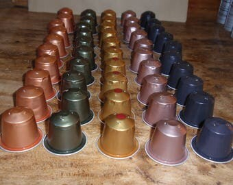 SET NO. 10 EMPTY NESPRESSO COFFEE CAPSULES AND OWN