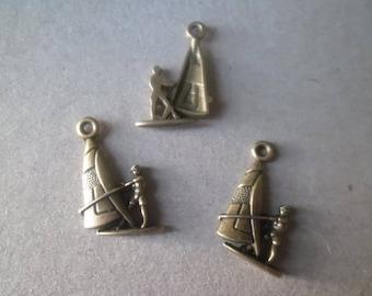 "x 5 pendants/charm boat sail ""sailboat"" bronze 22 x 15 mm"