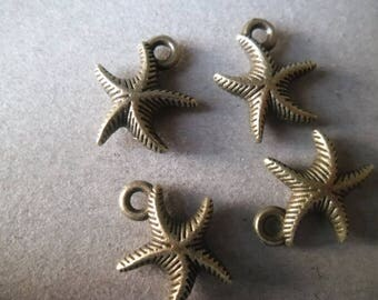 x 2 Starfish pendants bronze 17 x 14 mm