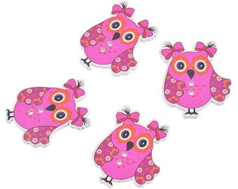 x 5 owls fuchsia 34 x 28 mm 2-hole wooden buttons