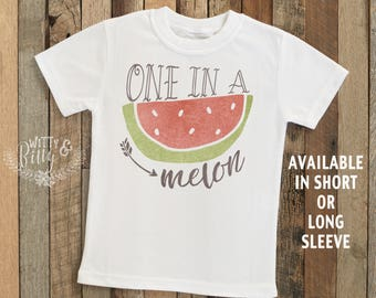 One In A Melon Watermelon Kids Shirt, Funny Kids Shirt, Silly Kids Shirt, Cute Kids Tee, Kids Food Pun Tee, Boho Baby Onesie - T273O