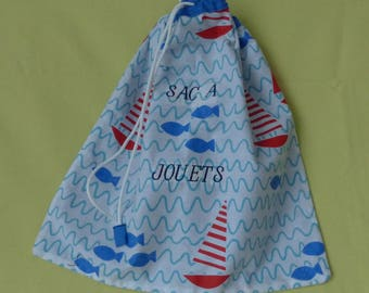 """Backpack child's toy, the sea motif, embroidered blue """"bag A""""sliding link white toys """""""