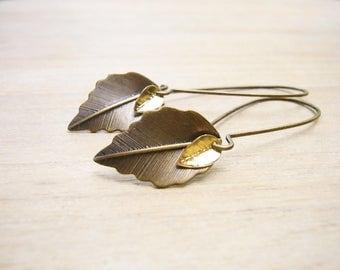 Leaf Earrings, Minimalist Everyday Earrings, Double Leaf Earrings, Fall Earrings, Rustic Wedding Jewelry, Woodland Jewelry, Boho Earrings