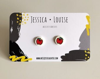 Red Apple Earrings / Red Apple Studs / Fruit Studs / Kawaii Fruit Studs / Kawaii Apple Studs / Kawaii Fruit Earrings
