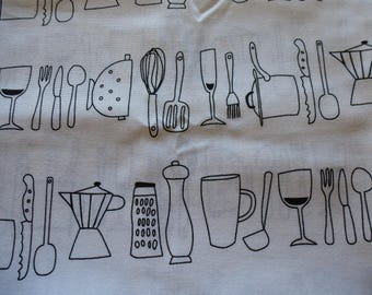 fabric black design on white coupon kitchenware 50 x 50 cm for sewing and embellishments