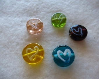 5 beads handcrafted pucks with heart 15 mm glass Murano type for creations
