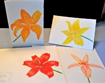 Hand Painted Lily Greeting Cards