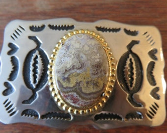 Super Unique Vintage Belt Buckle with Agate Stone Focal Point and Silver toned Back-piece with Metal Cut-outs