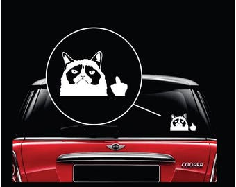 Grumpy Cat Flip the Bird Car Window Decal Sticker