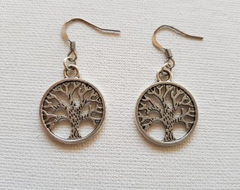 Earrings, Silver Earrings, Tree Of Life Earrings, Drop Earrings, Bohemian Earrings, Hippy Earrings, Fashion Earrings