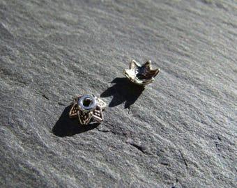 Set of 10 caps/bead caps flower Tibetan silver 6.5 mm x 6.5 mm x