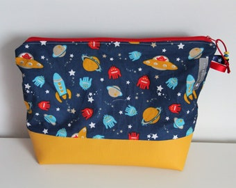 """Large toiletry """"Space"""" blue and yellow faux leather case"""