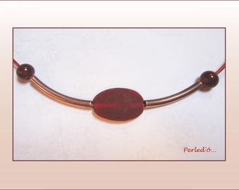 MIX BEADS RED AND BRONZE