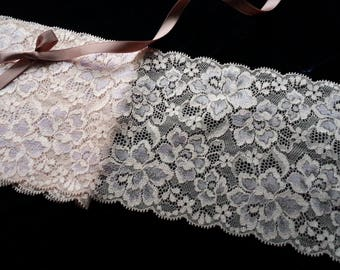 1yd (0.91m) of Raschel Stretch Lace- Peachy pink and light purple floral pattern - 13cm(5.1inch) Wide,RL_SL014