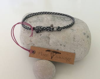 Mixed Beach wild Paracord Silver 2 mm Diamonds and Mini Manila right 2 mm stainless steel bracelet