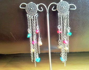 Earrings multicolored filaments