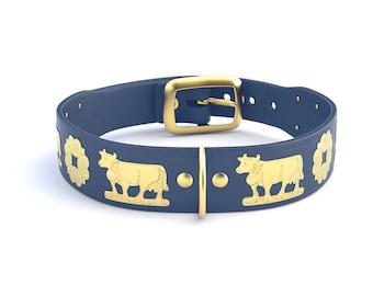 Narrow Appenzeller dog collar / Gold / 5 colors
