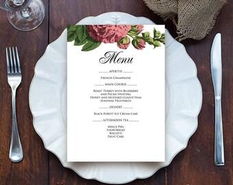 Hollyhock Menu Garden Wedding Menu Card Printable Template Party Menu Rustic Fall/Autumn Flowers Dinner Menu Bridal Shower Menu Floral Menu