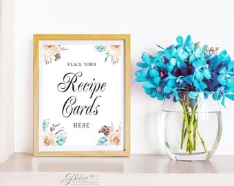 Recipe Cards Sign Bridal Shower Recipe Cards Sign Boho Floral Printable Sign Decor Wedding Recipe Cards Sign Table Sign DIY Digital Download