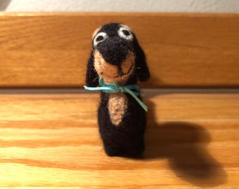 Needle-felted Miniature Needlefelt Mini Dachshund Wool Roving Black and Tan Brown - Needle-felted Miniature Black and Tan Dachshund