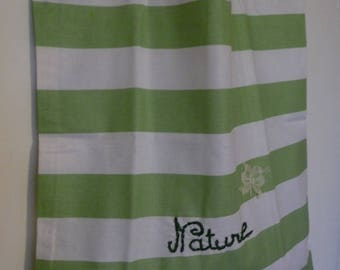 """Bag / tote bag striped green and white """"nature"""""""
