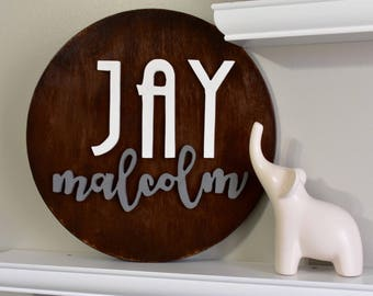 """14"""" Round  Personalized Baby Name Wood Sign I Nursery Decor 